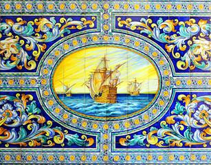 Galeones, carabelas, azulejo de Sevilla, España