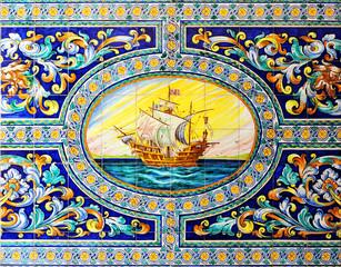 Galeón español, mosaico de azulejos