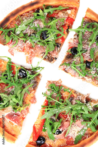 Pizza with arugula isolated on white