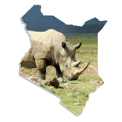 Kenya map with rhino