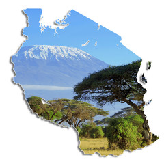 Tanzania map with Kilimanjaro