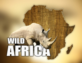 Africa Wildlife Map Design with rhino