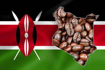Kenya map with coffee