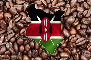 Kenya map with flag