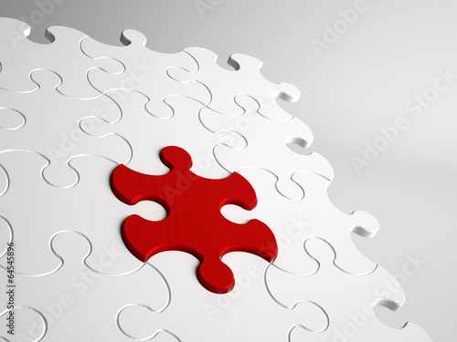 Conceptual close-up of abstract jigsaw puzzle