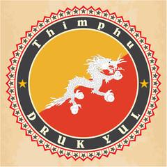 Vintage label cards of  Bhutan flag.