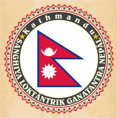 Vintage label cards of Nepal flag.