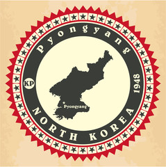 Vintage label-sticker cards of North Korea. Vector illustration