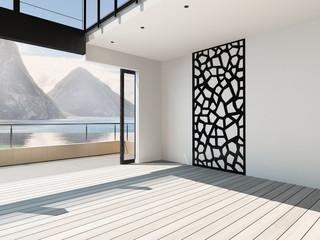 Modern airy apartment interior / atrium