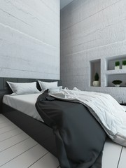 White bedroom interior with bed and alcove