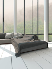Gray sofa in front of floor to ceiling window