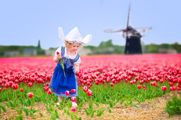 Little girl in Dutch costume in tulips field with windmill