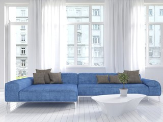 White living room interior with blue couch