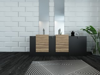 Modern bathroom interior with wooden furniture