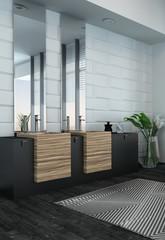 Modern bathroom interior with wooden furniture
