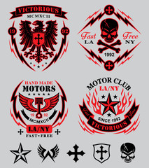 Biker patches emblem set
