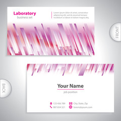 Universal purple-white medical laboratory business card.