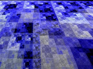 Abstract blue square fractal perspective mosaic style background