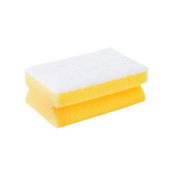 Kitchen cleaning sponge on white background