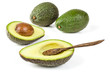 Fresh avocado with wooden spoon isolated