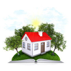 On the pages of an book is grass, trees and house