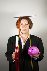 Graduate with Piggy Bank