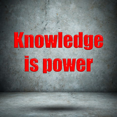 Knowledge is power concrete wall