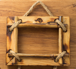 photo frame on wood