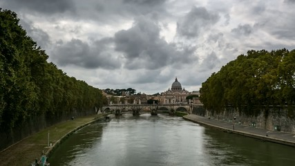 Tiber River Embankment, Timelapse Video, Rome, Italy