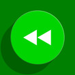 rewind green flat icon