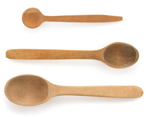 wooden spoon  on white