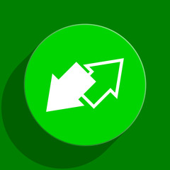 exchange green flat icon