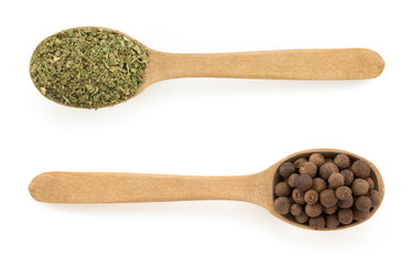 dried green spices in spoon