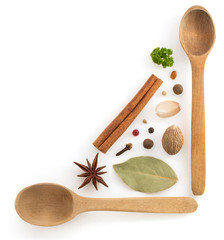 herbs and spices  on white