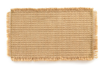burlap hessian sacking on white