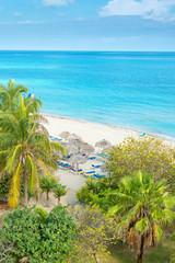 Aerial view of the beautiful beach of Varadero in Cuba
