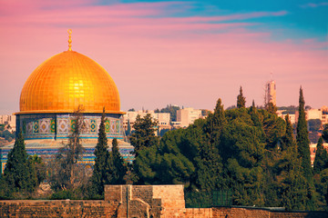 Dome of the Rock on the Temple Mount in Jerusalem at sunset