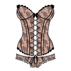 Lady's sexy guipure corset