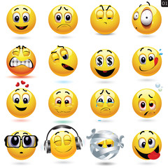 Vector set of smiley icons