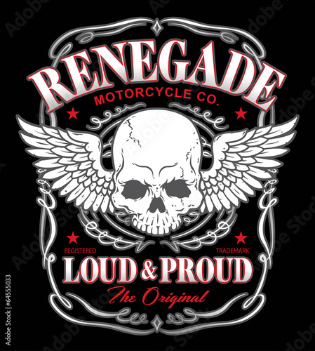 Renegade skull wings graphic - 64555033