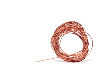 Thin roll of copper electrical wire isolated on white