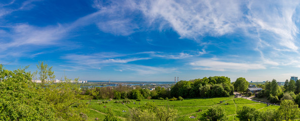 Cityscape of Kiev, Ukraine. Green trees, landscape