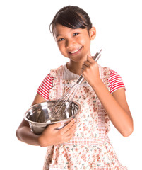 Girl With Egg Beater and Steel Bowl