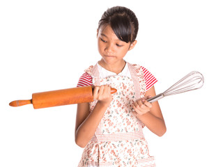 Girl, Egg Beater And Rolling Pin
