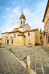 San Quirico Collegiata church and medieval square. Val d Orcia,