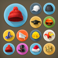 Hats, long shadow icon set