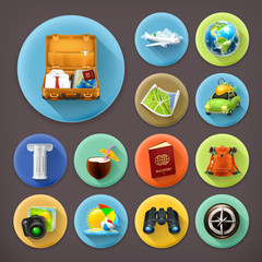 Vacation and Travel, long shadow icon set