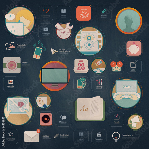 Flat vintage infographics elements for templates