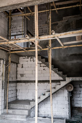 Unfinished stair construction