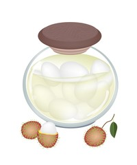 A Jar of Delicious Rambutans In Syrup